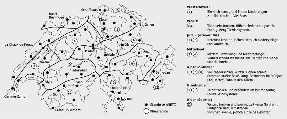 Klimaregionen der Schweiz und Standorte des automatischen Wetterbeobachtungsnetzes