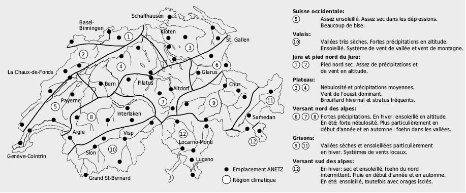 Régions climatiques de la Suisse et stations du réseau automatique d'observation du temps