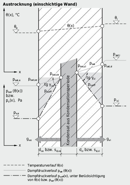 Temperatur- und Druckverläufe in homogener Wand: Austrocknung von Kernkondensat