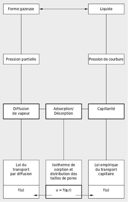 Vue d'ensemble des phénomènes de transport et d'accumulation d'humidité dans les matériaux de construction poreux importants pour la pratique. La courbe de sorption u=f(φ,r) dépendant de l'humidité relative φ