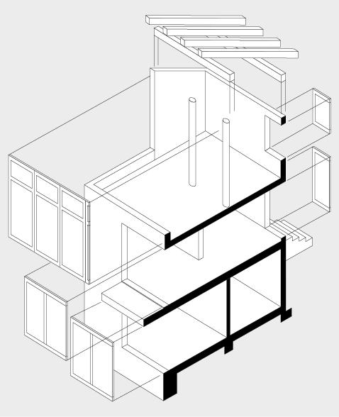 Erste Überlegungen zur Raumstruktur mit tragenden und trennenden Bauteilen zur Bildung eines Baus.