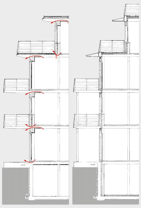 Typische Gebäudesegmente einer weitverbreiteten Konstruktion aus den 70er-Jahren, mit erheblichen Wärmebrücken und hohem Transmissionswärmeverlust