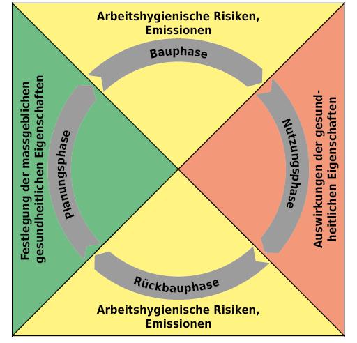 Gesundheitliche Auswirkungen im Lebenszyklus von Gebäuden.