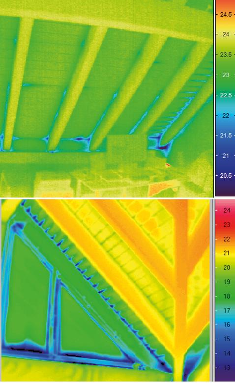 Thermografie-Aufnahme von Luftundichtheiten im Trauf- und Ortbereich