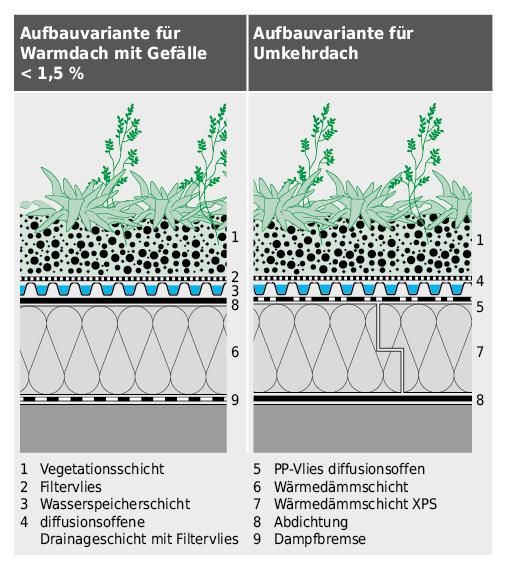 Mehrschichtaufbauten für extensivbegrünte Flachdächer.