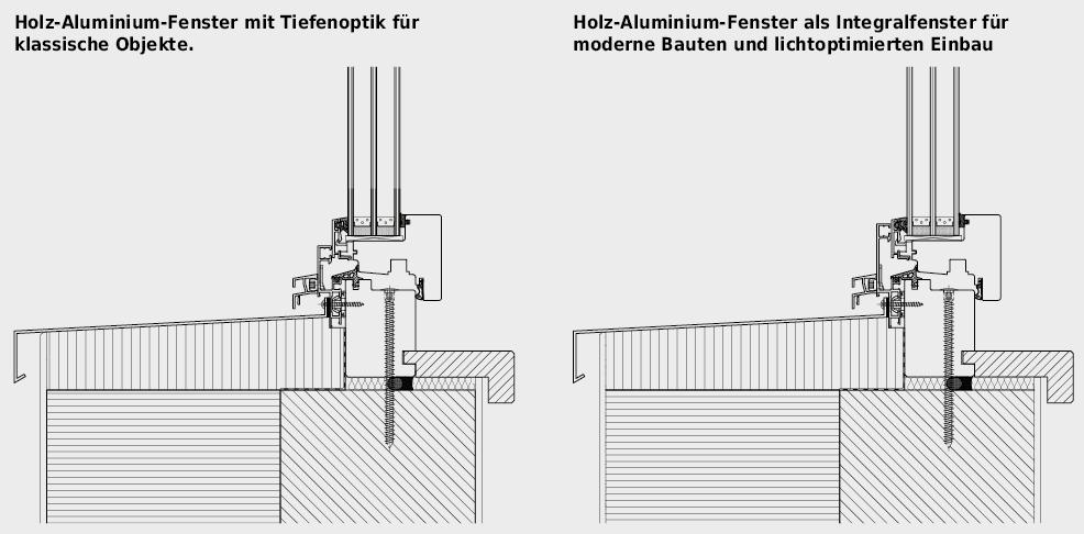 Holz-Aluminium-Fenster in zwei Varianten.