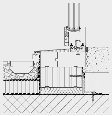 Fensteranschluss rollstuhlgängig mit aktiver Entwässerung