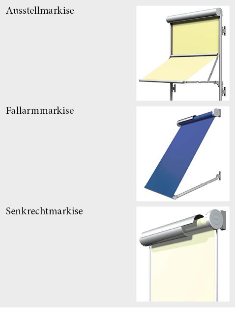 Varianten von Fassaden-Markisen.