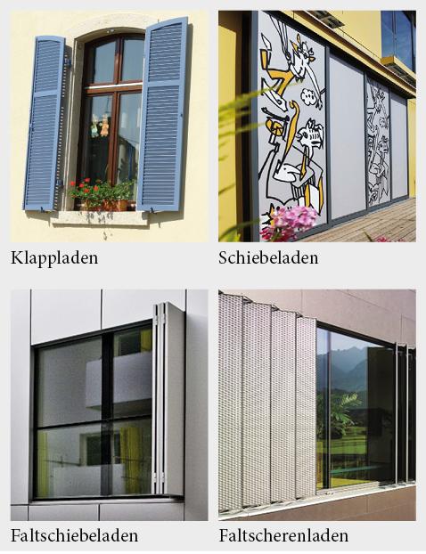 Unterschiedliche Systeme für Fensterläden.