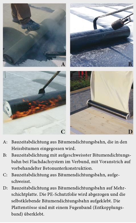Varianten für die Ausführung von Dampfbremse/Bauzeitabdichtung mit Bitumendichtungsbahnen.