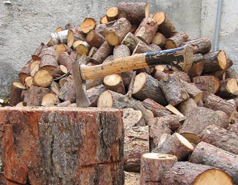 Stückholz als einheimischer Brennstoff.