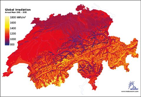 Globales Strahlungsangebot in der Schweiz im Mittel der Jahre 1981 bis 2000