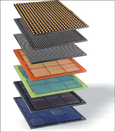 Module mit unterschiedlichen Zellfarben, transparentem Glas, gelochten Zellen, farbigen oder bedruckten Folien einlaminiert im Zwischenverglasungsbereich ermöglichen vielfältigste Erscheinungsbilder und Performance.