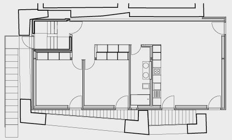 Grundriss Erdgeschoss mit 31/2-Zimmerwohnung.