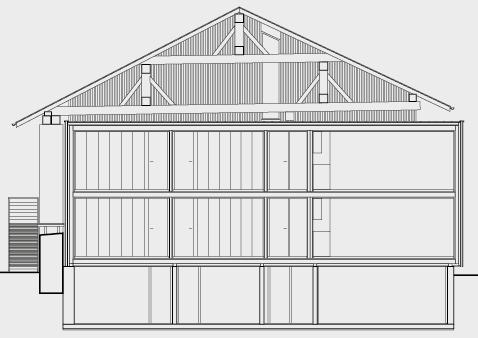 Längsschnitt mit Holzkonstruktion ab Untergeschoss.