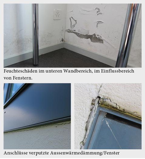 Wasserinfiltration bei flächenbündigem Anschluss der verputzten Aussenwärmedämmung an das Fenster.