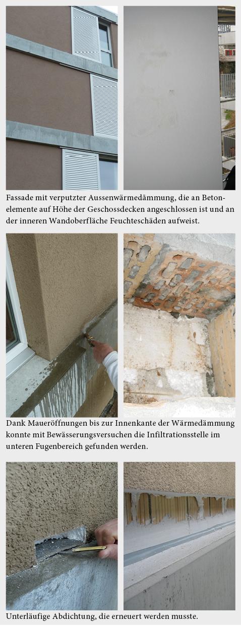 Wasserinfiltration über undichte Anschlüsse an Betonelement.