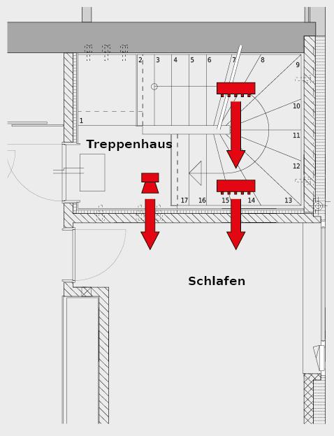 Das Treppenhaus grenzt an ein Schlafzimmer und den offenen Wohnraum an. Gefragt waren Lösungen für einen erhöhten Luft- und Trittschallschutz.