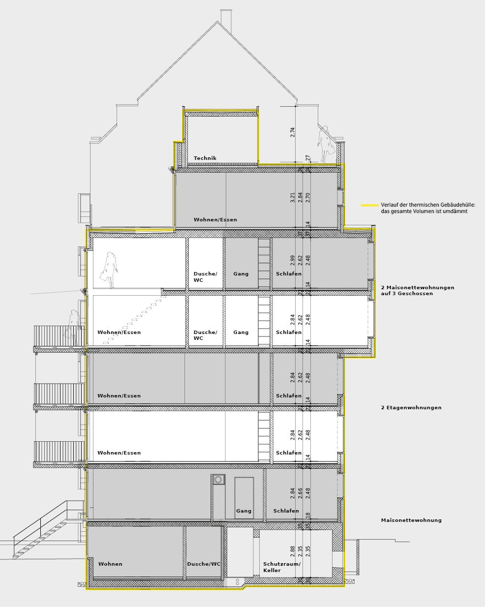 Der Gebäudeschnitt zeigt die Anordnung der fünf Wohnungen: Maisonettewohnung im Gartengeschoss und Hochparterre, zwei Etagenwohnungen und zwei Wohnungen, die sich die obersten drei Geschosse teilen.