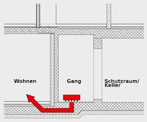 Horizontale Trittschallübertragung vom Hartbeton imGang- und Kellerbereich in die angrenzende Wohnung.