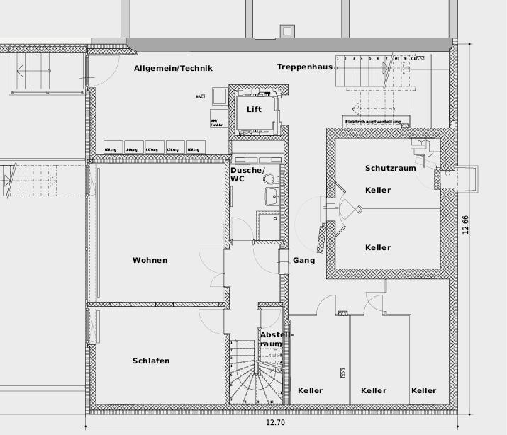 Gartengeschoss, in dem neben dem unteren Geschoss der Maisonettewohnung der Schutzraum bzw. die Wohnungskeller angeordnet sind. Im Technikraum sorgen fünf einzelne Lüftungsgeräte für frische Luft in den Wohnungen. Die Zuluft wird vom Garten über einen Erdluftkollektor zugeführt.
