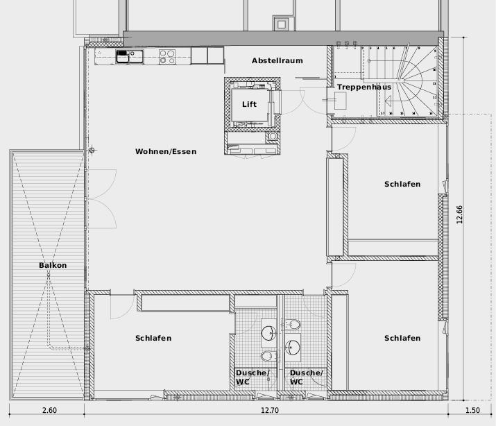 2. Obergeschoss mit Etagenwohnung, wie sie auch im 1. Obergeschoss vorhanden ist. Die Wohn- und Schlafräume werden von der Decke her mit Zuluft versorgt; im Abstellraum und in der Dusche/WC wird die Luft abgesogen.
