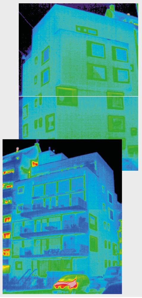Wärmebilder zeigen die Qualität der Gebäudehülle im Vergleich: Beim Neubau geht weniger Energie verloren als beim älteren Nachbarhaus.